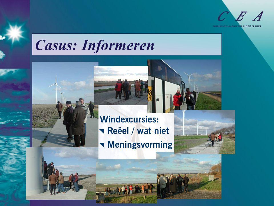 Casus: Informeren  Reëel / wat niet  Meningsvorming Windexcursies: