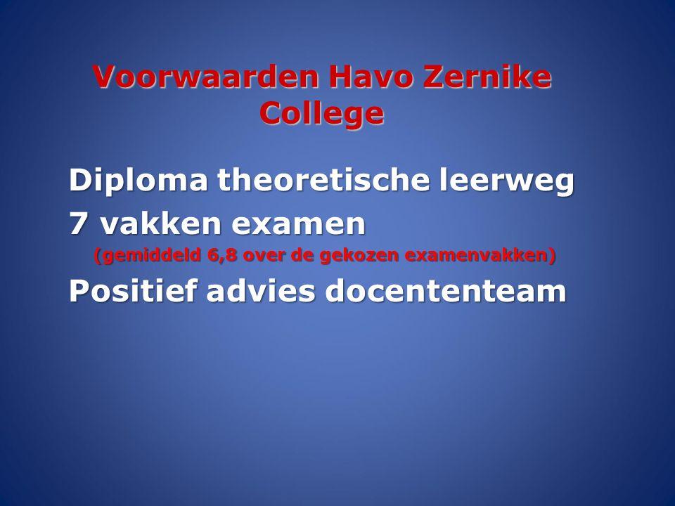Voorwaarden Havo Zernike College Diploma theoretische leerweg 7 vakken examen (gemiddeld 6,8 over de gekozen examenvakken) Positief advies docententea