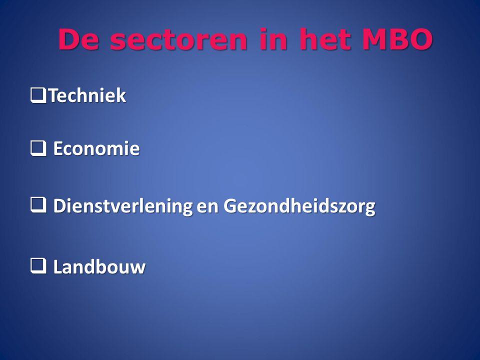 De sectoren in het MBO  Techniek  Economie  Dienstverlening en Gezondheidszorg  Landbouw