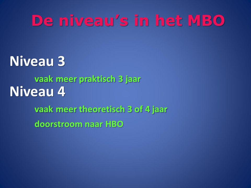De niveau's in het MBO Niveau 3 vaak meer praktisch 3 jaar Niveau 4 vaak meer theoretisch 3 of 4 jaar doorstroom naar HBO