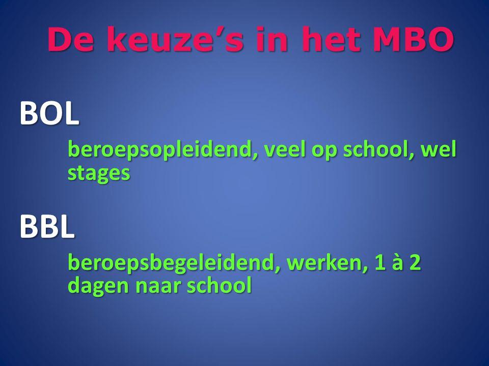 De keuze's in het MBO BOL beroepsopleidend, veel op school, wel stages BBL beroepsbegeleidend, werken, 1 à 2 dagen naar school