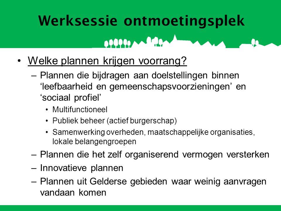 Werksessie ontmoetingsplek Welke plannen krijgen voorrang? –Plannen die bijdragen aan doelstellingen binnen 'leefbaarheid en gemeenschapsvoorzieningen