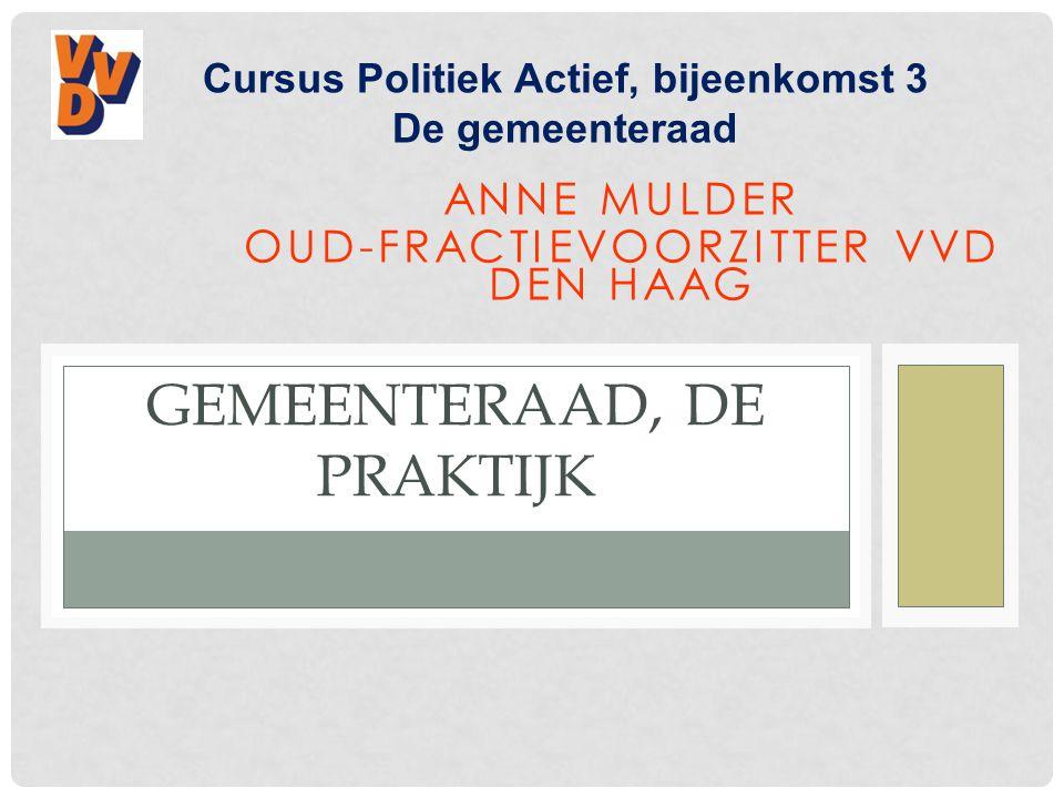 ANNE MULDER OUD-FRACTIEVOORZITTER VVD DEN HAAG GEMEENTERAAD, DE PRAKTIJK Cursus Politiek Actief, bijeenkomst 3 De gemeenteraad