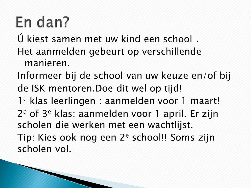 Ú kiest samen met uw kind een school. Het aanmelden gebeurt op verschillende manieren. Informeer bij de school van uw keuze en/of bij de ISK mentoren.