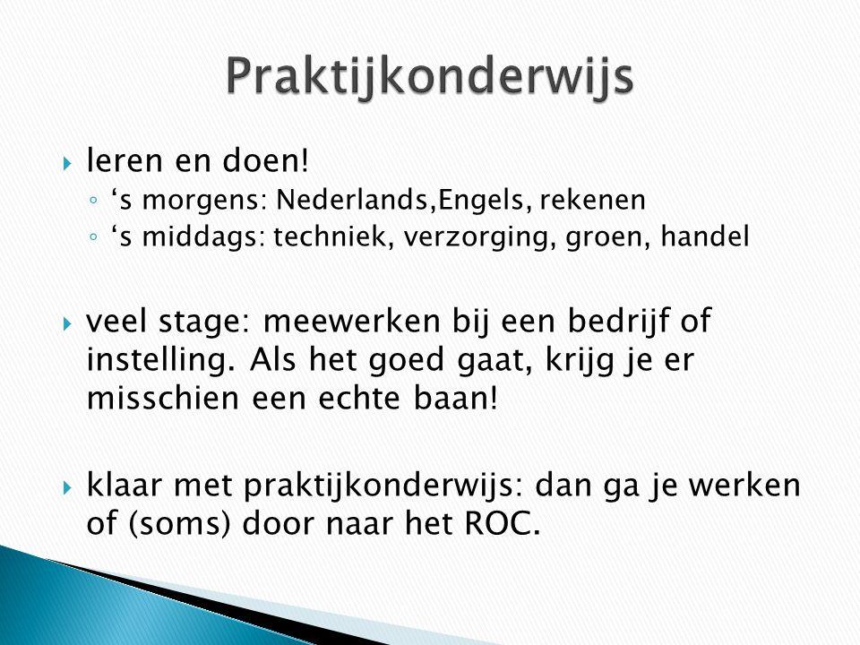  leren en doen! ◦ 's morgens: Nederlands,Engels, rekenen ◦ 's middags: techniek, verzorging, groen, handel  veel stage: meewerken bij een bedrijf of