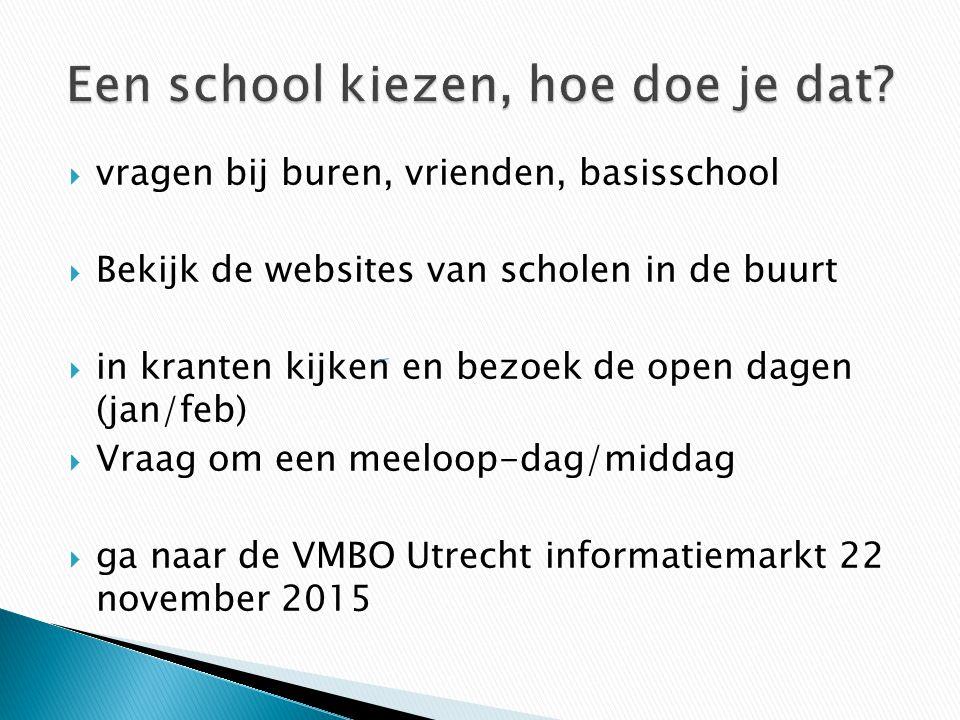  vragen bij buren, vrienden, basisschool  Bekijk de websites van scholen in de buurt  in kranten kijken en bezoek de open dagen (jan/feb)  Vraag o