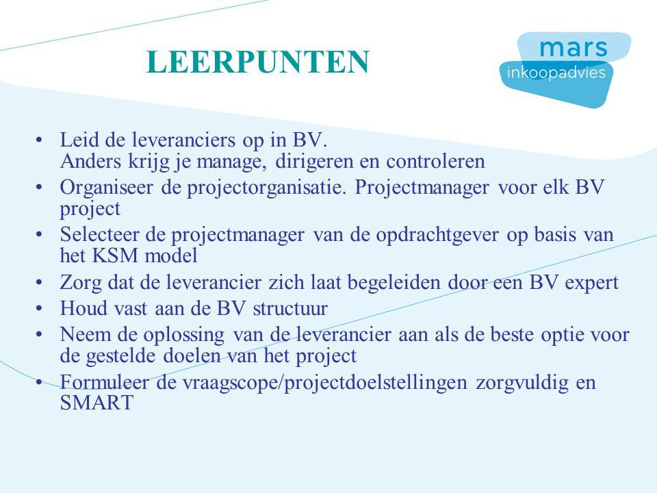 LEERPUNTEN Leid de leveranciers op in BV. Anders krijg je manage, dirigeren en controleren Organiseer de projectorganisatie. Projectmanager voor elk B