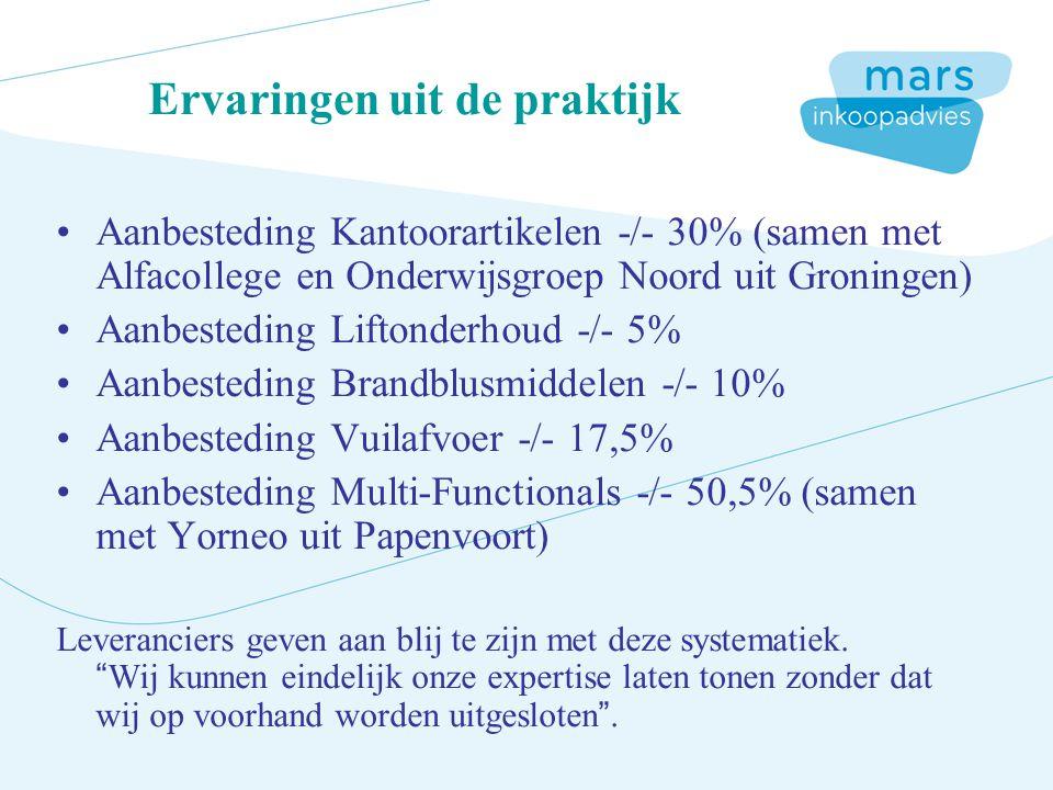 Ervaringen uit de praktijk Aanbesteding Kantoorartikelen -/- 30% (samen met Alfacollege en Onderwijsgroep Noord uit Groningen) Aanbesteding Liftonderhoud -/- 5% Aanbesteding Brandblusmiddelen -/- 10% Aanbesteding Vuilafvoer -/- 17,5% Aanbesteding Multi-Functionals -/- 50,5% (samen met Yorneo uit Papenvoort) Leveranciers geven aan blij te zijn met deze systematiek.
