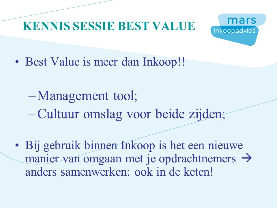 KENNIS SESSIE BEST VALUE Best Value is meer dan Inkoop!! –Management tool; –Cultuur omslag voor beide zijden; Bij gebruik binnen Inkoop is het een nie