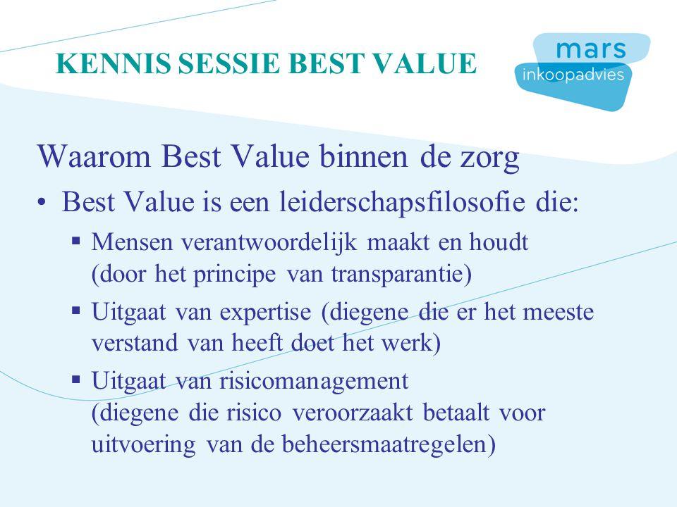 KENNIS SESSIE BEST VALUE Waarom Best Value binnen de zorg Best Value is een leiderschapsfilosofie die:  Mensen verantwoordelijk maakt en houdt (door