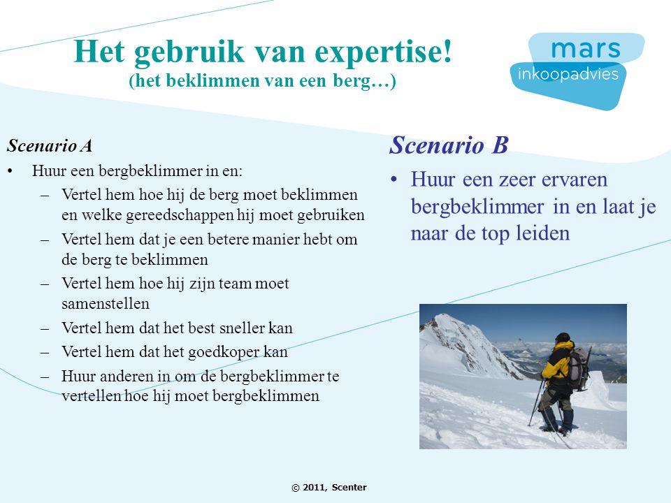 Het gebruik van expertise! ( het beklimmen van een berg…) Scenario B Huur een zeer ervaren bergbeklimmer in en laat je naar de top leiden Scenario A H