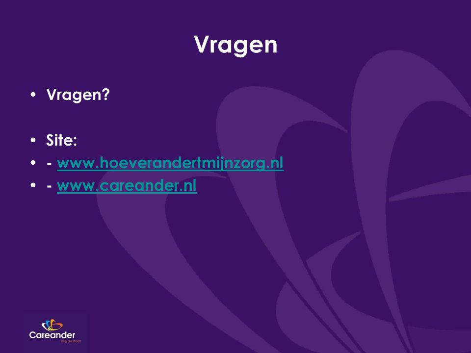Vragen Vragen? Site: - www.hoeverandertmijnzorg.nlwww.hoeverandertmijnzorg.nl - www.careander.nlwww.careander.nl