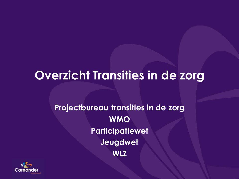 Overzicht Transities in de zorg Projectbureau transities in de zorg WMO Participatiewet Jeugdwet WLZ