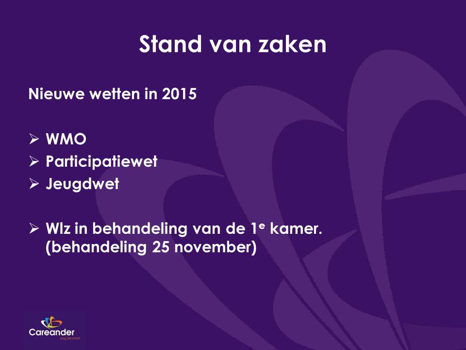 Stand van zaken Nieuwe wetten in 2015  WMO  Participatiewet  Jeugdwet  Wlz in behandeling van de 1 e kamer. (behandeling 25 november)