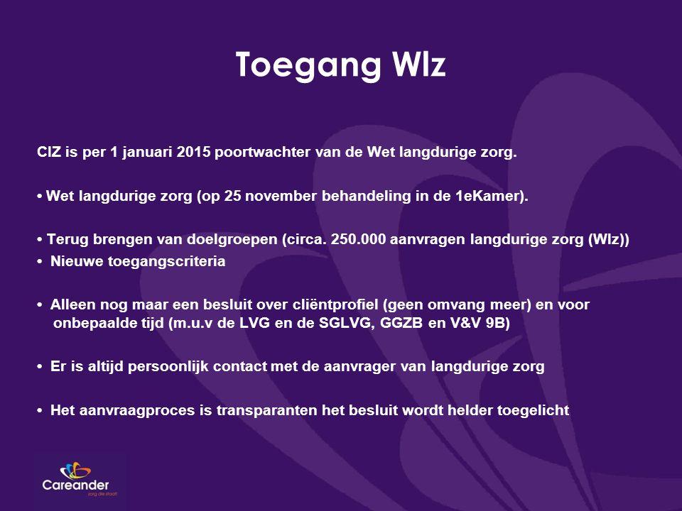 Toegang Wlz CIZ is per 1 januari 2015 poortwachter van de Wet langdurige zorg. Wet langdurige zorg (op 25 november behandeling in de 1eKamer). Terug b