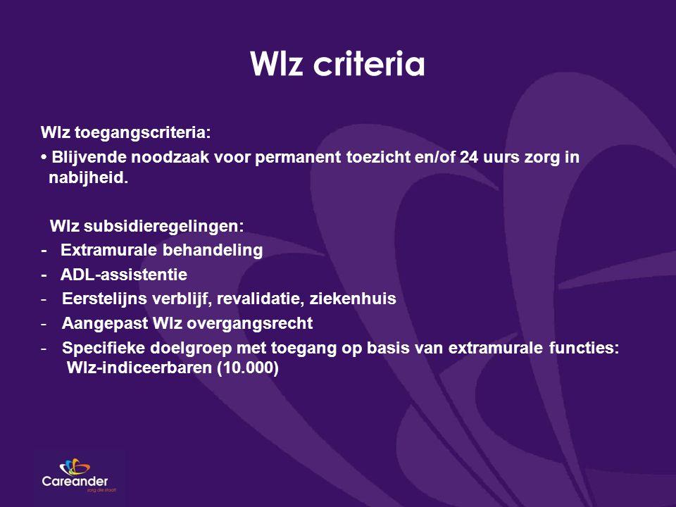 Wlz criteria Wlz toegangscriteria: Blijvende noodzaak voor permanent toezicht en/of 24 uurs zorg in nabijheid.
