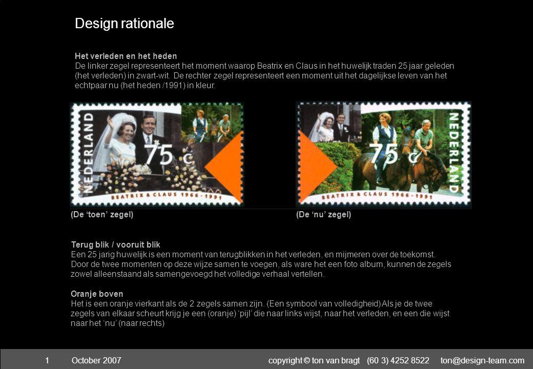 October 2007copyright © ton van bragt (60 3) 4252 8522 ton@design-team.com2 1995 Red Dot prize for communication design germany