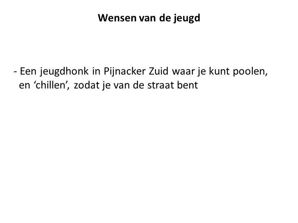 - Een jeugdhonk in Pijnacker Zuid waar je kunt poolen, en 'chillen', zodat je van de straat bent Wensen van de jeugd