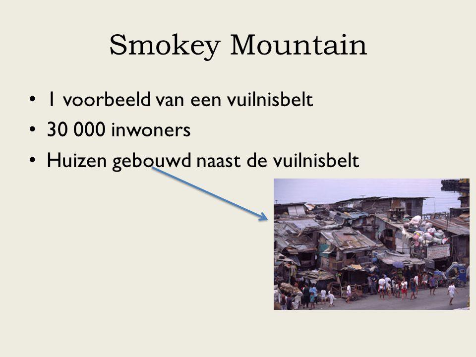 Smokey Mountain 1 voorbeeld van een vuilnisbelt 30 000 inwoners Huizen gebouwd naast de vuilnisbelt