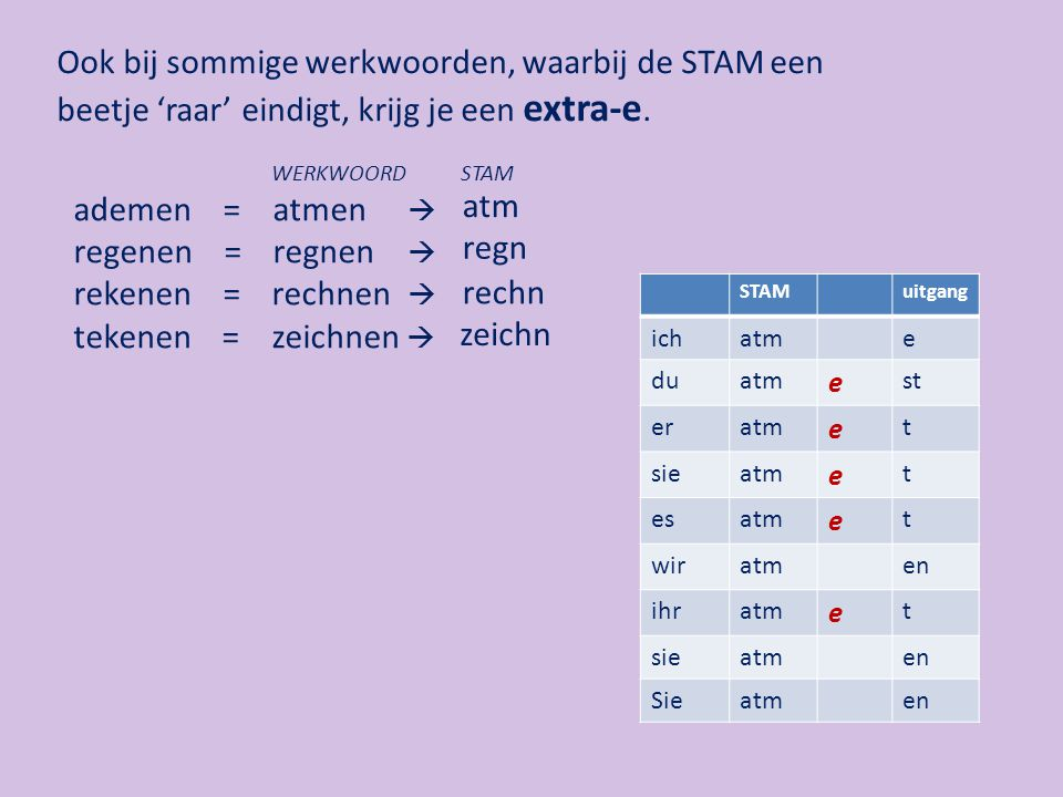 Ook bij het voltooid deelwoord krijg je een extra-e, wanneer de STAM van een werkwoord op een d of t eindigt en bij werkworden met een 'rare' STAM.