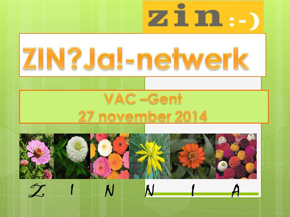 Zin?Ja!-netwerk is:  Inspirerend, lerend netwerk  Van, voor en door personeelsleden  Levens- en werkervaring uitwisselen  Energie, Energiegevers en Inspiratie vergaren  Denk-, Doe- en Inspiratiesessies  Zin in Zinvol werk realiseren Communicatie via: - Website : http://www.bestuurszaken.be/zinja-netwerk - Yammer-bericht op www.yammer.com/zinja-netwerkwww.yammer.com/zinja-netwerk - Twitter-bericht aan: #zinja - e-mail aan: zinjanetwerk@vlaanderen.bezinjanetwerk@vlaanderen.be