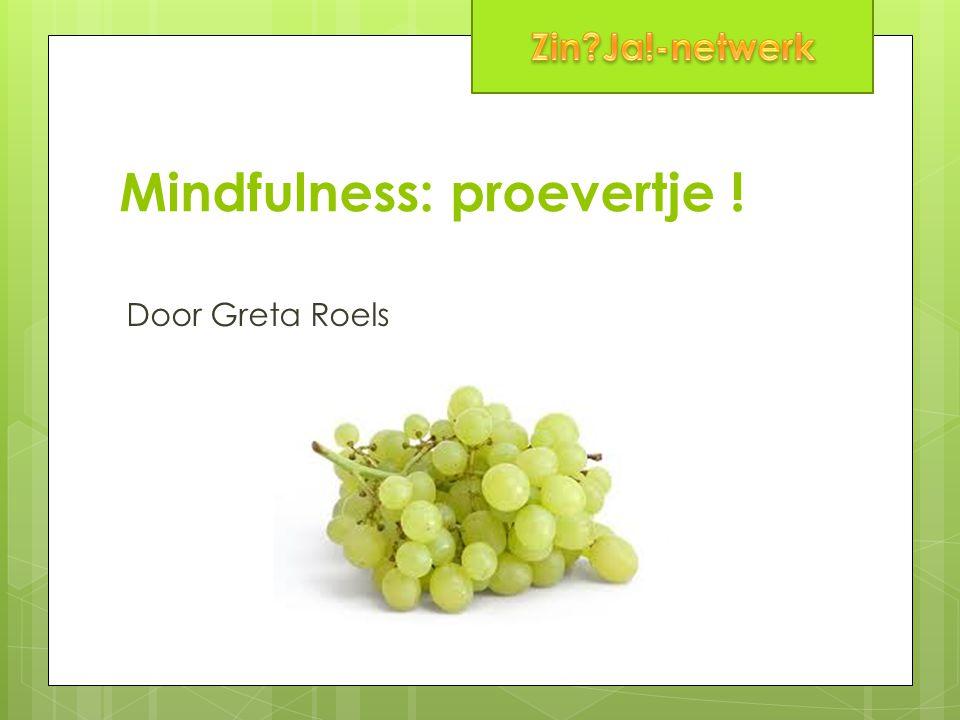 Mindfulness: proevertje ! Door Greta Roels