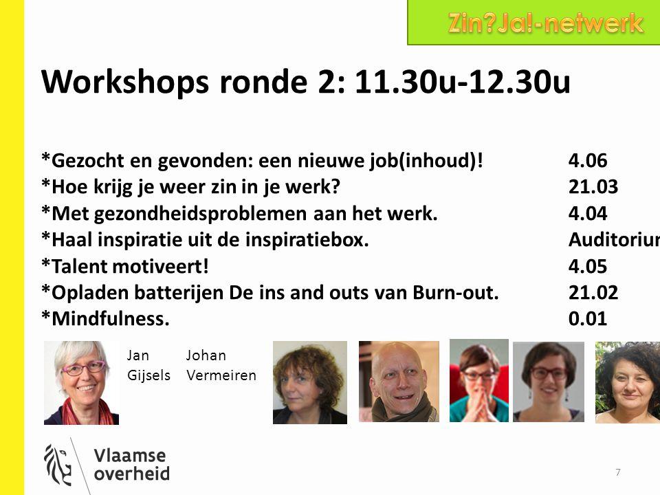 7 Workshops ronde 2: 11.30u-12.30u *Gezocht en gevonden: een nieuwe job(inhoud)!4.06 *Hoe krijg je weer zin in je werk?21.03 *Met gezondheidsproblemen