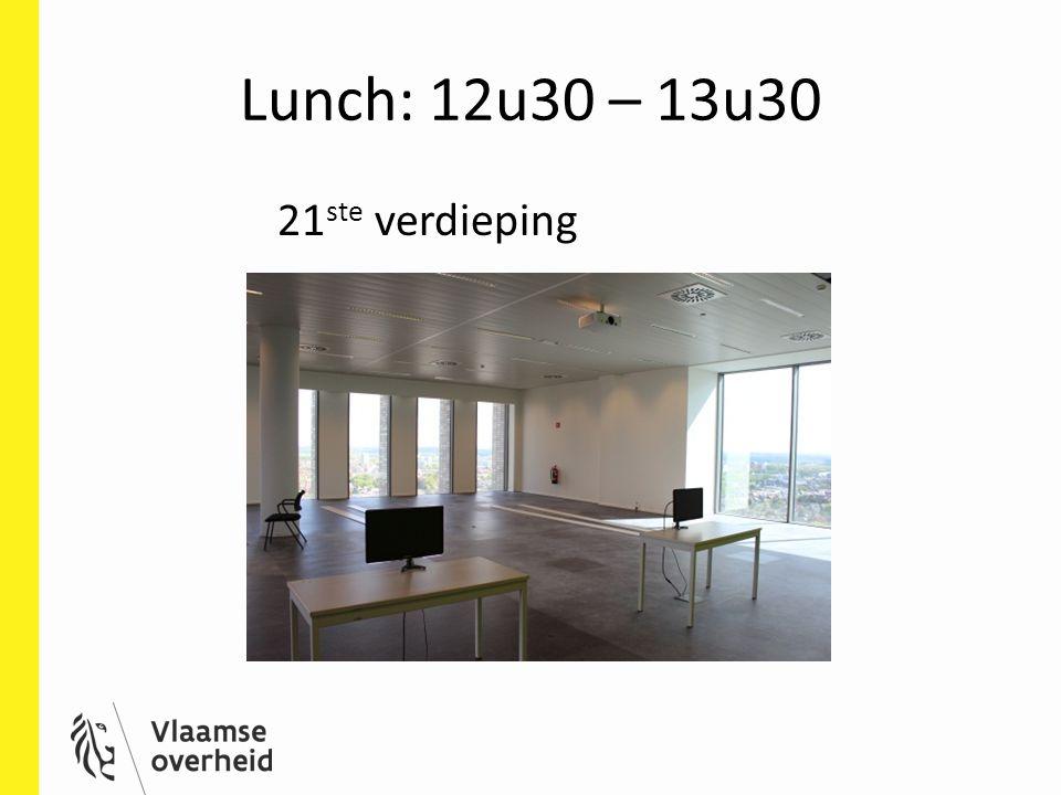 Lunch: 12u30 – 13u30 21 ste verdieping