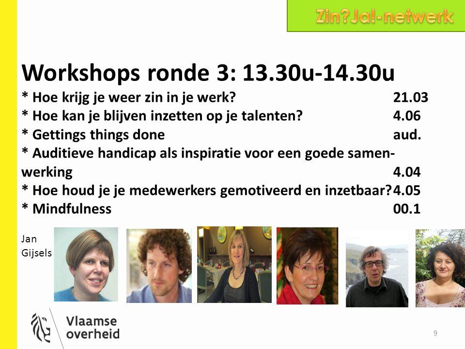Workshops ronde 4: 14.45u-15.45u * Hoe kan je blijven inzetten op je talenten?4.06 * Met gezondheidsproblemen aan het werk4.04 * Hoe houd je je medewerkers gemotiveerd en inzetbaar aan het werk?4.05 *Opladen batterijen : de inns and out van burn-out21.02 * Mindfulness00.1 * Videoconferentie VAC Antwerpen18.12 J Johan Vermeiren 10