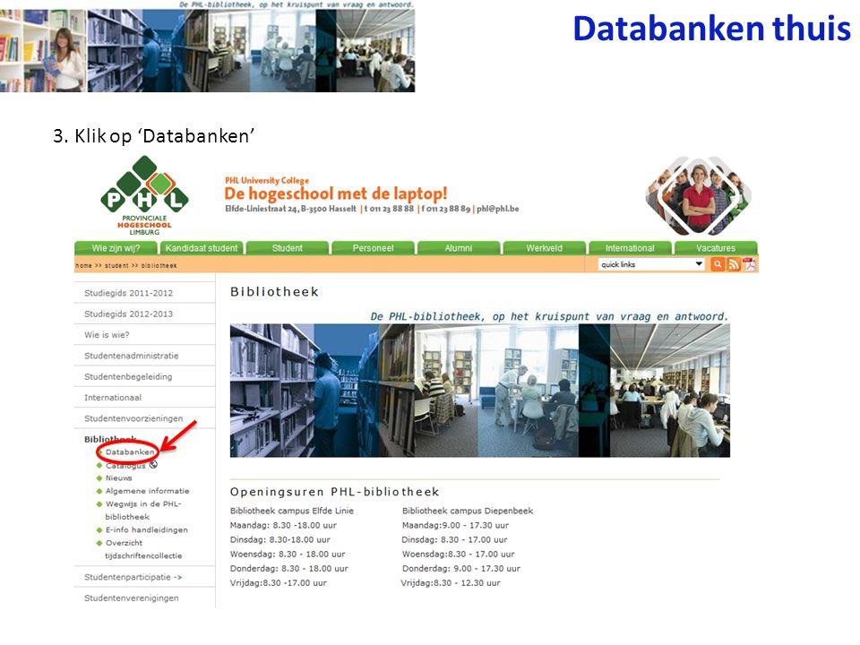 3. Klik op 'Databanken' Databanken thuis