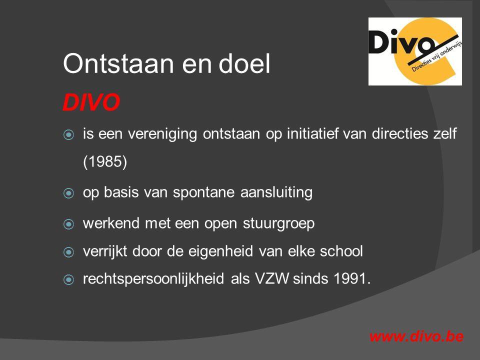 Ontstaan en doel  is een vereniging ontstaan op initiatief van directies zelf (1985)  op basis van spontane aansluiting  werkend met een open stuurgroep  verrijkt door de eigenheid van elke school  rechtspersoonlijkheid als VZW sinds 1991.