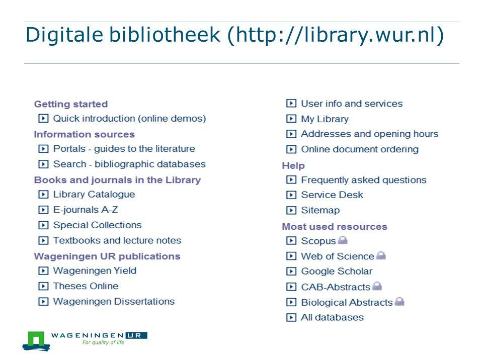 Digitale bibliotheek (http://library.wur.nl)