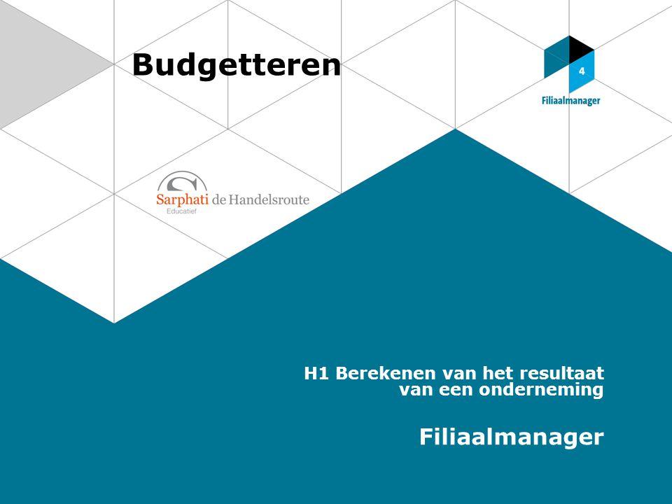 Budgetteren H1 Berekenen van het resultaat van een onderneming Filiaalmanager