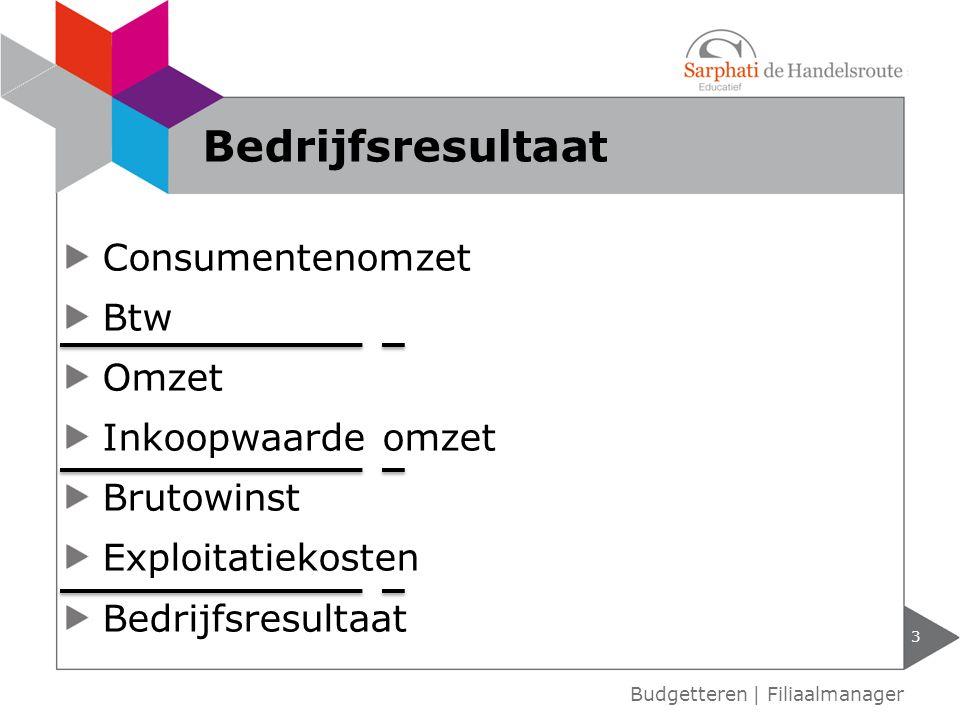 Consumentenomzet Btw Omzet Inkoopwaarde omzet Brutowinst Exploitatiekosten Bedrijfsresultaat Budgetteren | Filiaalmanager Bedrijfsresultaat 3