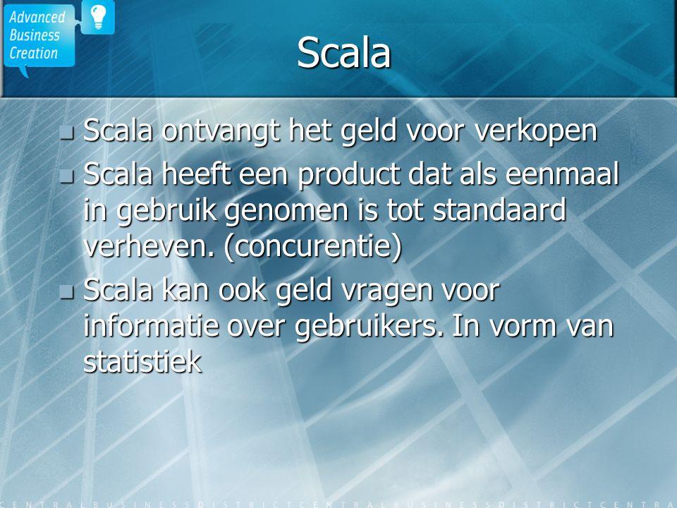 Scala Scala ontvangt het geld voor verkopen Scala ontvangt het geld voor verkopen Scala heeft een product dat als eenmaal in gebruik genomen is tot standaard verheven.