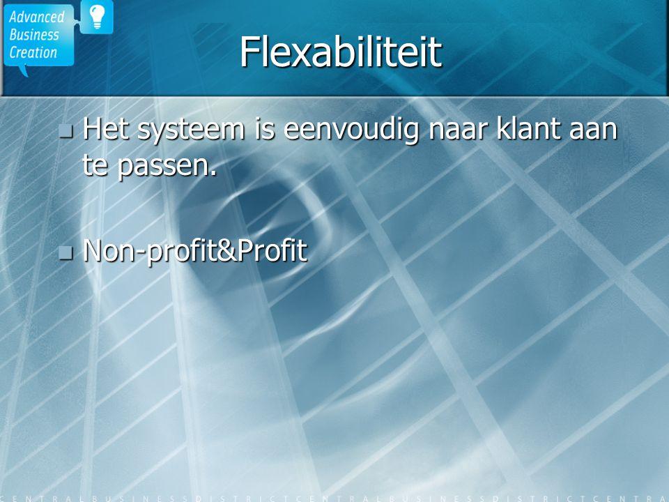 Flexabiliteit Het systeem is eenvoudig naar klant aan te passen. Het systeem is eenvoudig naar klant aan te passen. Non-profit&Profit Non-profit&Profi