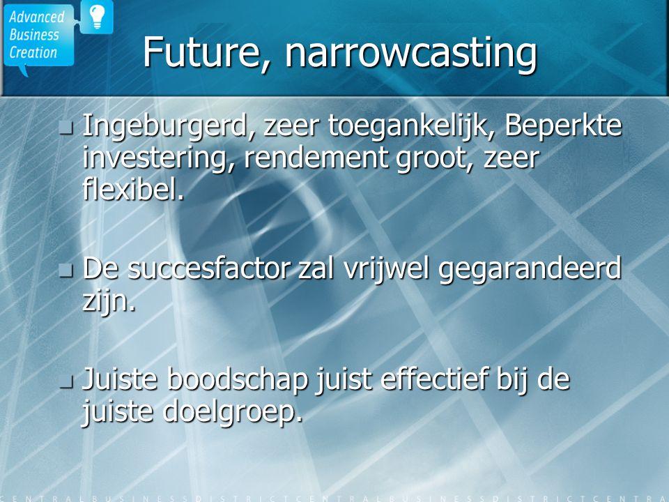Future, narrowcasting Ingeburgerd, zeer toegankelijk, Beperkte investering, rendement groot, zeer flexibel. Ingeburgerd, zeer toegankelijk, Beperkte i