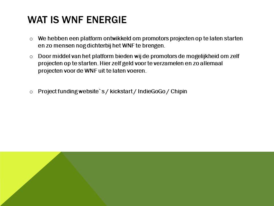 o We hebben een platform ontwikkeld om promotors projecten op te laten starten en zo mensen nog dichterbij het WNF te brengen.
