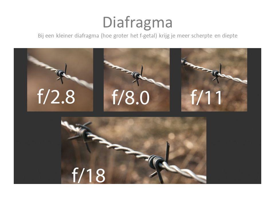 Diafragma Bij een kleiner diafragma (hoe groter het f-getal) krijg je meer scherpte en diepte