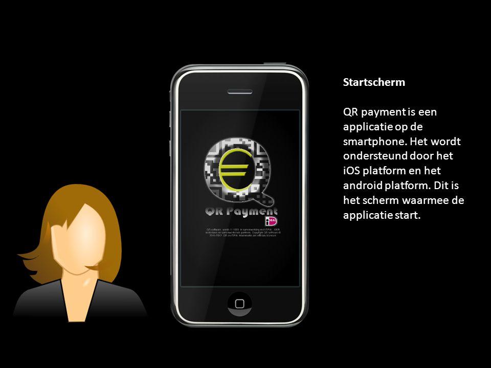 Startscherm QR payment is een applicatie op de smartphone.