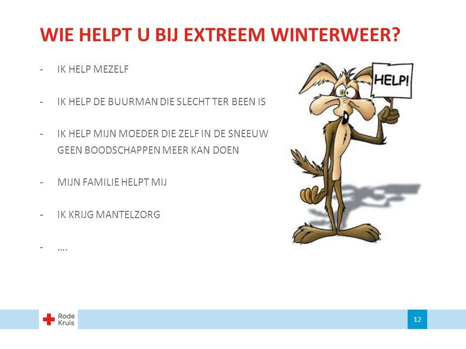 WIE HELPT U BIJ EXTREEM WINTERWEER? -IK HELP MEZELF -IK HELP DE BUURMAN DIE SLECHT TER BEEN IS -IK HELP MIJN MOEDER DIE ZELF IN DE SNEEUW GEEN BOODSCH