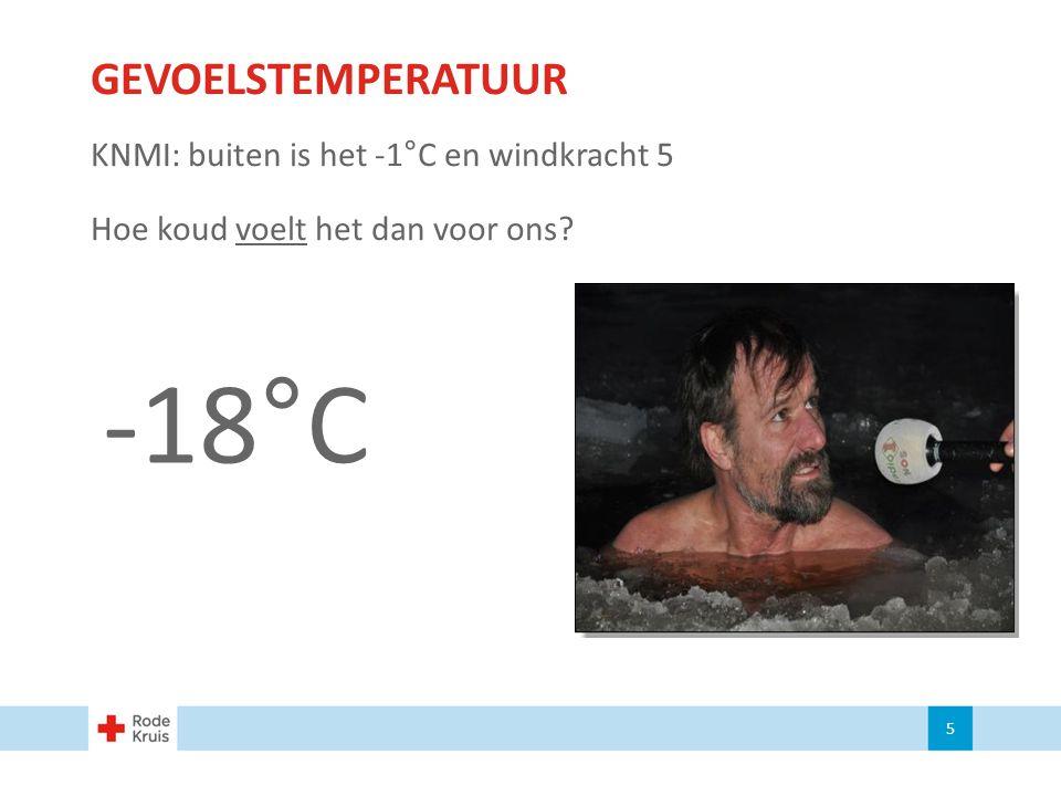 GEVOELSTEMPERATUUR KNMI: buiten is het -1°C en windkracht 5 Hoe koud voelt het dan voor ons? 5 -18°C