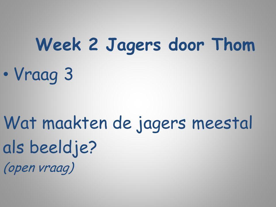 Week 2 Jagers door Thom Vraag 3 Wat maakten de jagers meestal als beeldje? (open vraag)