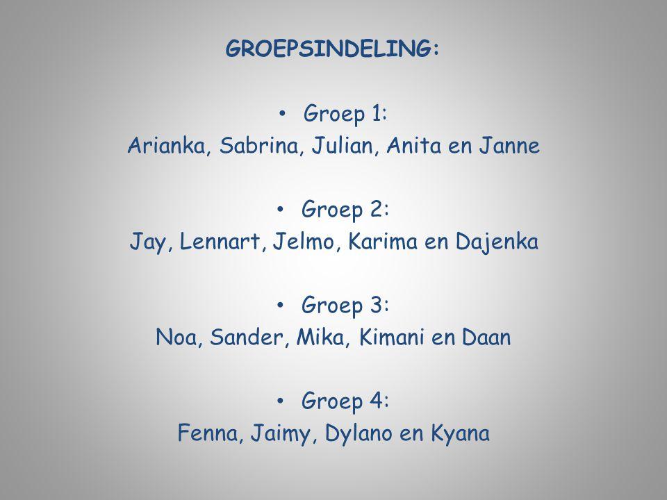 GROEPSINDELING: Groep 1: Arianka, Sabrina, Julian, Anita en Janne Groep 2: Jay, Lennart, Jelmo, Karima en Dajenka Groep 3: Noa, Sander, Mika, Kimani e