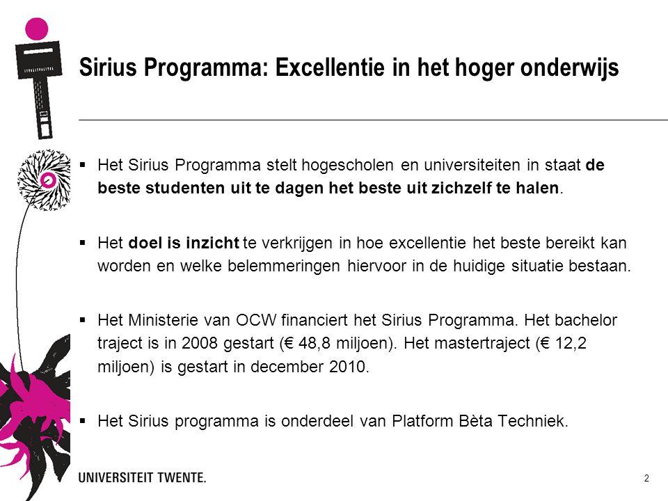 2 Sirius Programma: Excellentie in het hoger onderwijs  Het Sirius Programma stelt hogescholen en universiteiten in staat de beste studenten uit te dagen het beste uit zichzelf te halen.