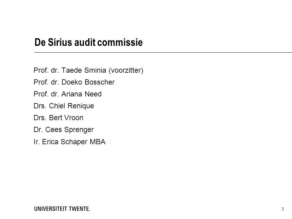 De Sirius audit commissie Prof.dr. Taede Sminia (voorzitter) Prof.