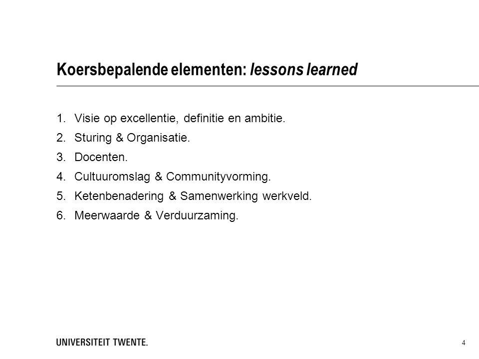 Koersbepalende elementen: lessons learned 1.Visie op excellentie, definitie en ambitie.
