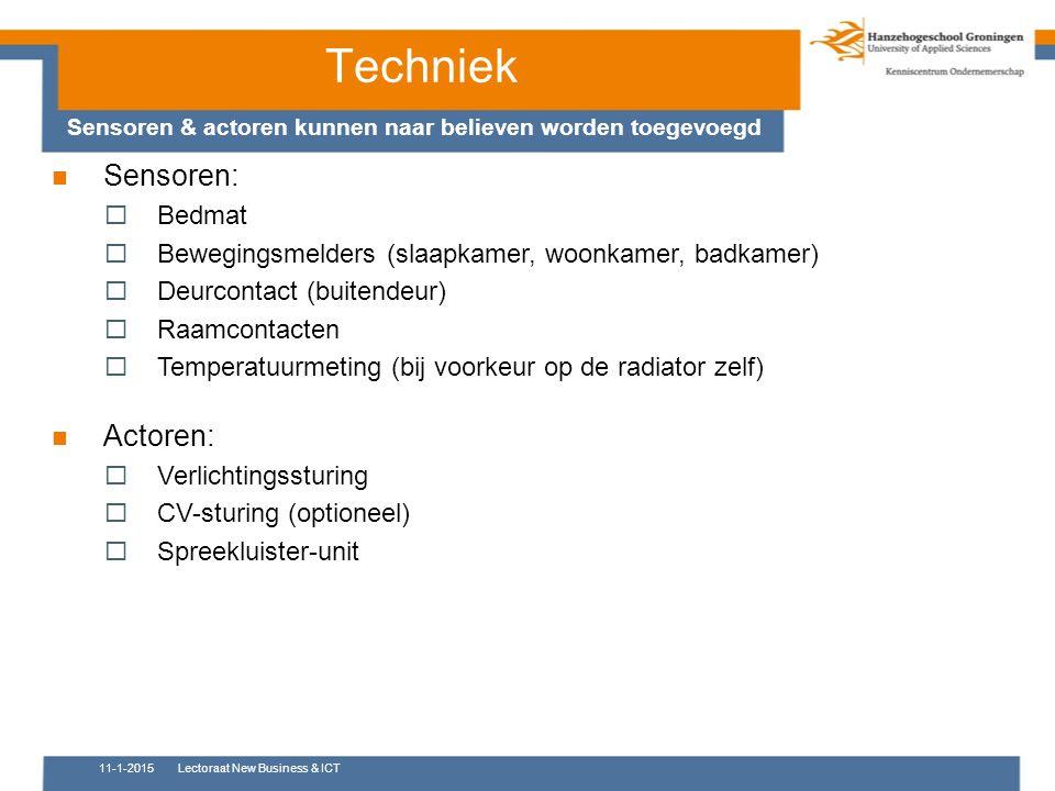 Sensoren:  Bedmat  Bewegingsmelders (slaapkamer, woonkamer, badkamer)  Deurcontact (buitendeur)  Raamcontacten  Temperatuurmeting (bij voorkeur o