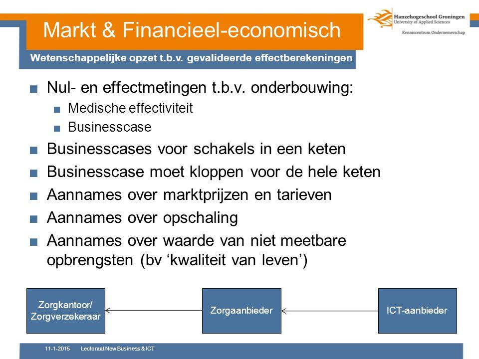 Markt & Financieel-economisch Wetenschappelijke opzet t.b.v. gevalideerde effectberekeningen ■Nul- en effectmetingen t.b.v. onderbouwing: ■Medische ef