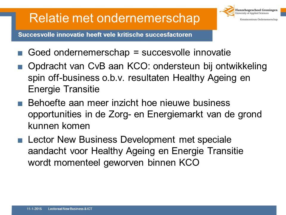 Relatie met ondernemerschap ■Goed ondernemerschap = succesvolle innovatie ■Opdracht van CvB aan KCO: ondersteun bij ontwikkeling spin off-business o.b